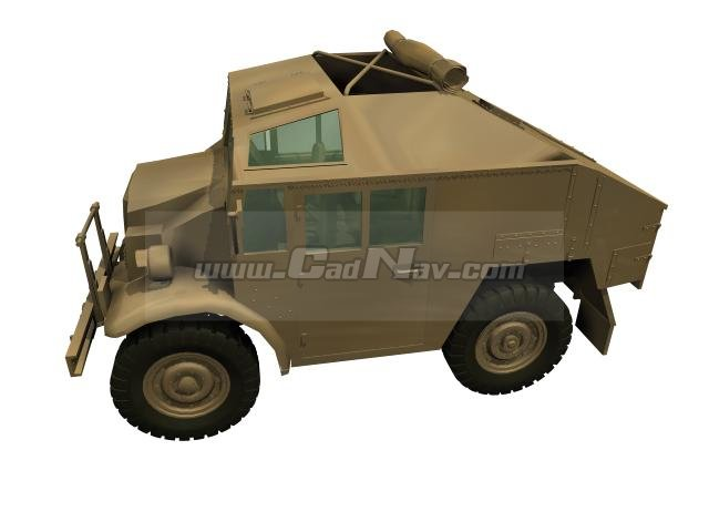 Armoured scout car 3d rendering