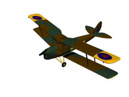 DH 82 Tiger Moth trainer 3d model preview