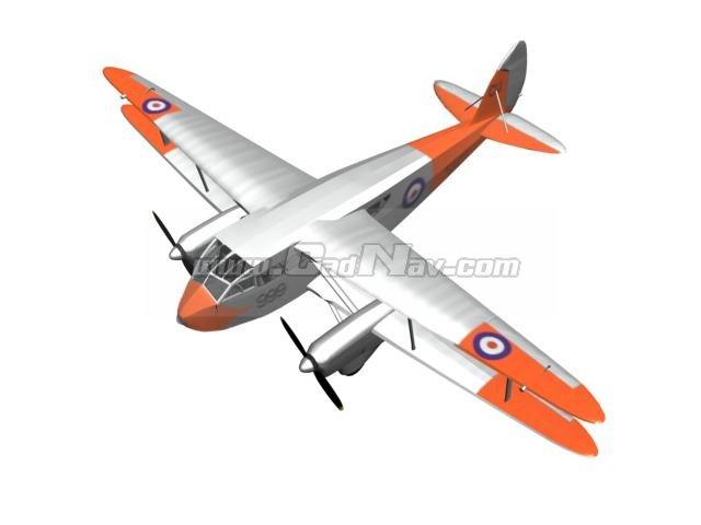 De Havilland Dragon Rapide Short-haul airliner 3d rendering