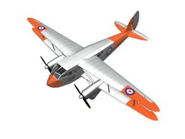 De Havilland Dragon Rapide Short-haul airliner 3d model preview