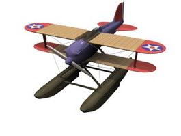 Hydro-biplane 3d model preview