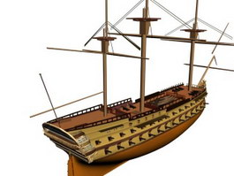 French ship Superbe 3d model preview