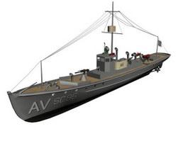 USS Casco catapult training ship 3d model preview