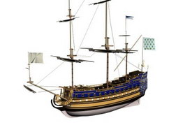 French ship Soleil-Royal 3d model preview