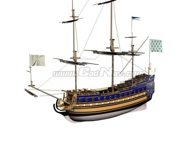 French ship Soleil-Royal 3d rendering