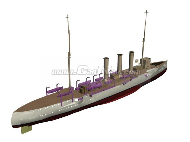 SMS Emden Königsberg class light cruiser 3d model 3Ds Max,3ds files free download - modeling ...