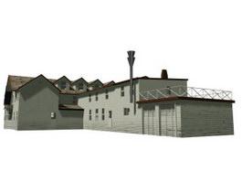 Wooden Building 3d model preview