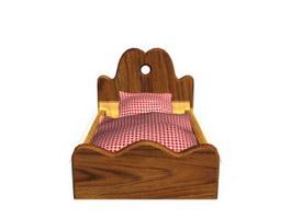 Wooden Children Bed 3d model preview