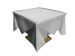 Square Table and table cloth 3d preview