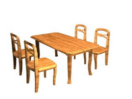 Wooden dining chairs and table 3d preview