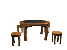 Wooden dining room table and chairs 3d model preview
