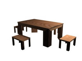 Wooden dining table and chairs 3d preview