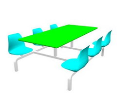 School Dining Table Set 3d preview
