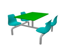Restaurant dining table and chairs 3d preview
