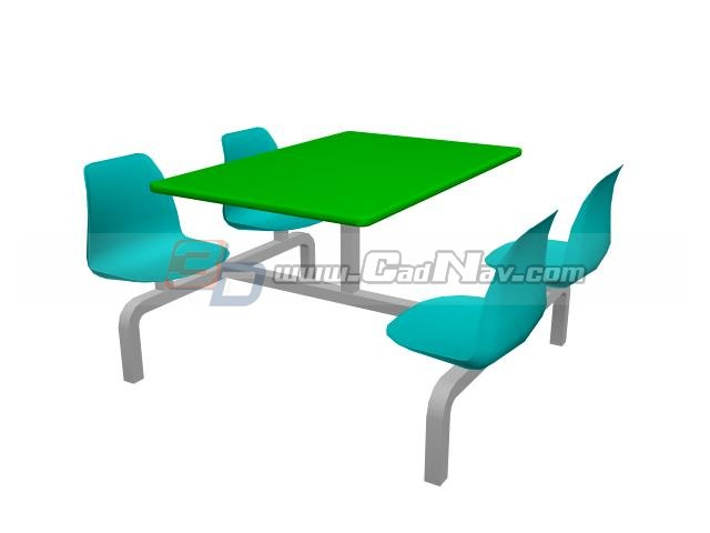 Restaurant dining table and chairs 3d rendering