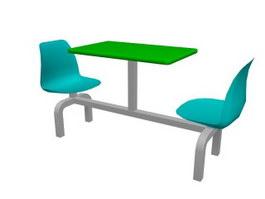 2 Seats Restaurant table sets 3d model preview