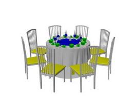 Restaurant banquet table sets 3d preview