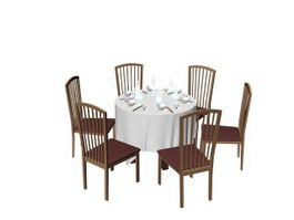 Restaurant dining table and chair set 3d preview