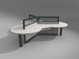 3 People Office workstation 3d preview