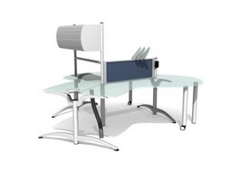 Glass Office Furniture Workstation Partition 3d model preview