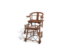 Wooden Baby Safty Seat 3d preview