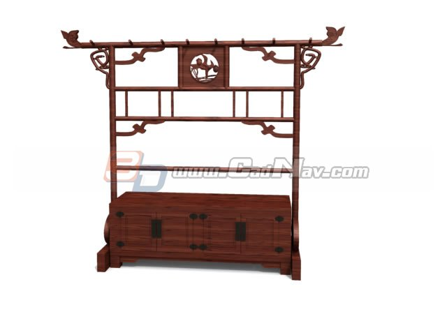 Antique Shoe Rack and clothes tree 3d rendering