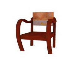 Old-fashioned wooden armchair 3d preview