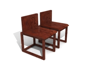 Antique Wooden dining chair 3d model preview