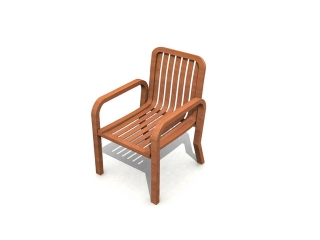 Anegre wood arm chair 3d preview