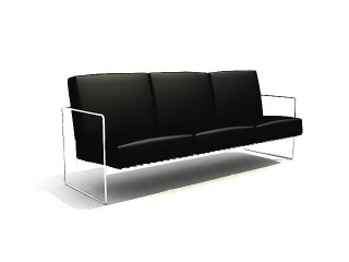PU office sofa 3d model preview