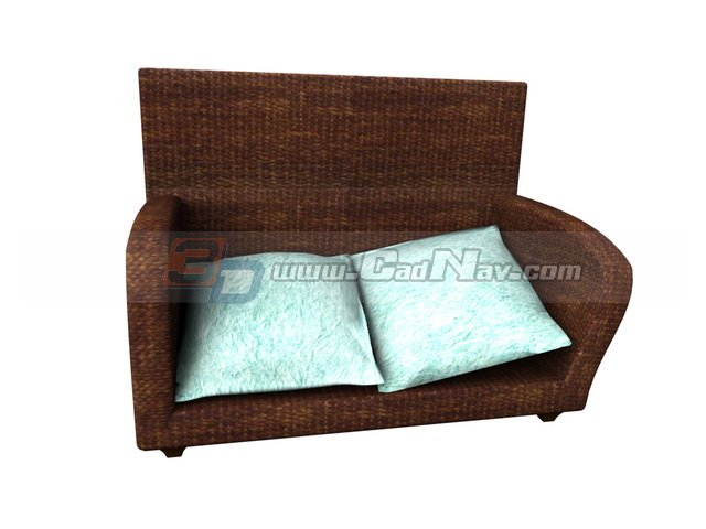 Rattan Sofa and Cushion 3d rendering