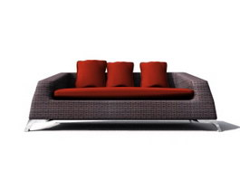 Three-seater upholstered sofa 3d model preview