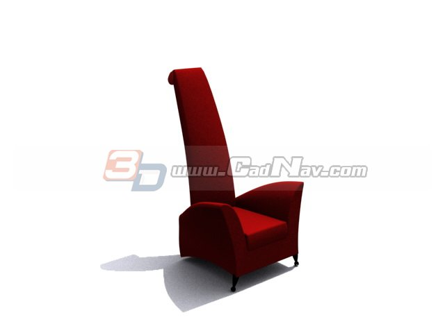 High back theater chair 3d rendering