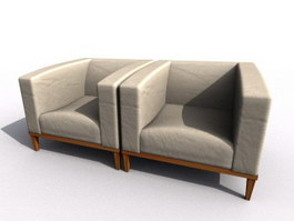 Low back upholstered sofa 3d model preview