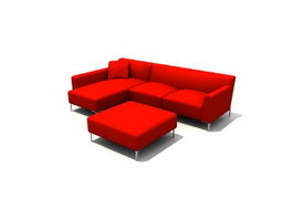 Living Room cushion couch sets 3d model preview