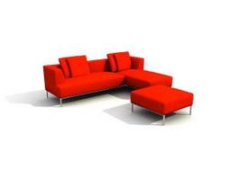 Corner sofa sets & footstool 3d model preview