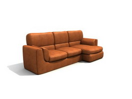 Leather three-seat sofa group 3d model preview