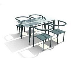 Modern dining room set 3d model preview