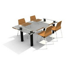 Glass Dining Table and Chairs 3d preview