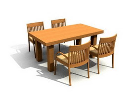 Wooden Dining Room Sets 3d model preview
