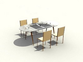 Four-seater Dining Room Sets 3d model preview
