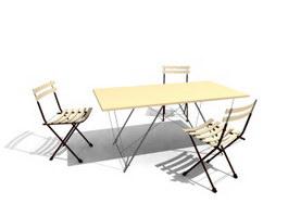 Outdoor Garden Dining Set 3d model preview