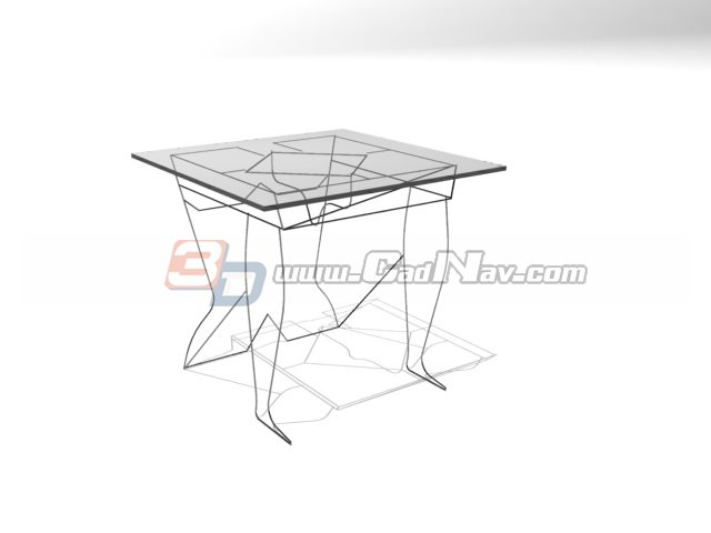 Glass Top Iron Coffee Table 3d rendering