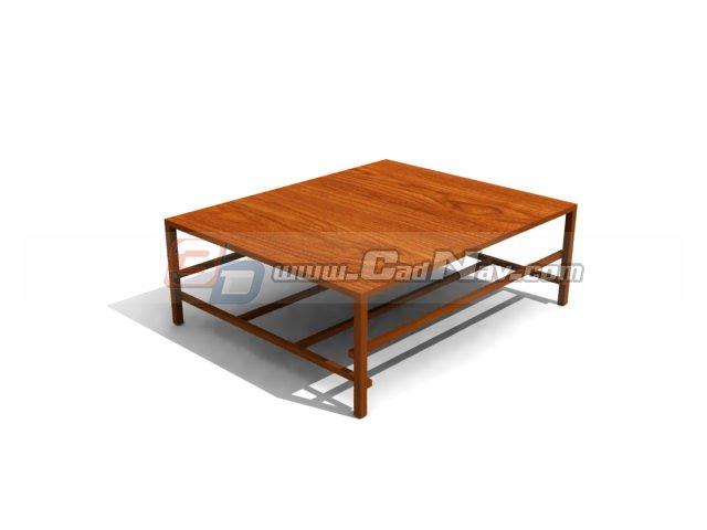 Wood frame coffee table 3d rendering