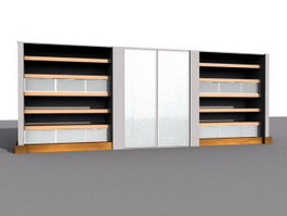 Office wall unit 3d model preview