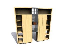 Wooden Filing Cabinet Sets 3d model preview