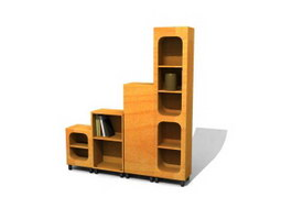 Wooden display cabinet Bookcases 3d preview