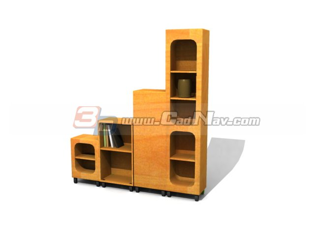 Wooden display cabinet Bookcases 3d rendering