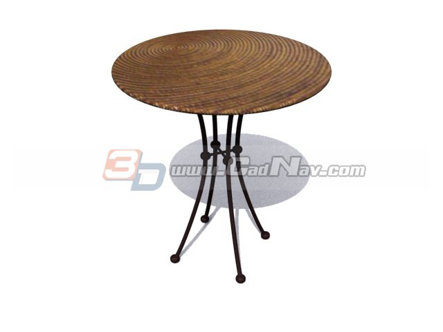 Round Wooden Coffee Table 3d rendering