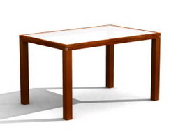 Glass top wooden dining table 3d model preview